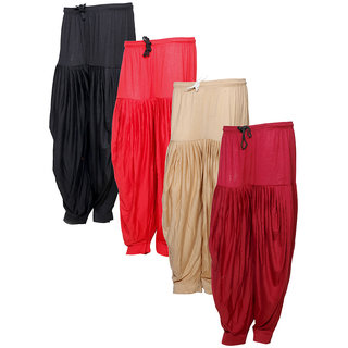 Indistar Women's Premium Cotton 4 Full Patiala Salwar (Pack of 4)
