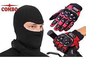 Combo of Pro-Biker Gloves (Red)  + Balaclava