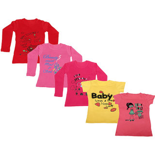 Indistar Girls 3 Cotton Full Sleeves and 2 Half Sleeves Printed T-Shirt (Pack of 5)_Red::Red::Pink::Yellow::Pink_Size: 6-7 Year