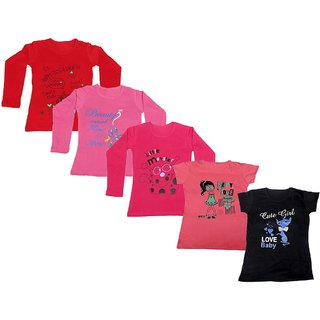 Indistar Girls 3 Cotton Full Sleeves and 2 Half Sleeves Printed T-Shirt (Pack of 5)_Red::Red::Pink::Pink:: Black_Size: 6-7 Year