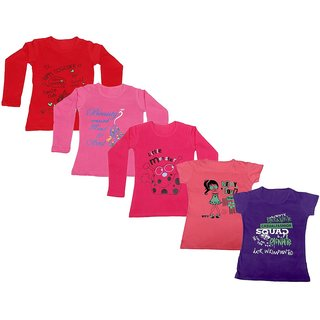 Indistar Girls 3 Cotton Full Sleeves and 2 Half Sleeves Printed T-Shirt (Pack of 5)_Red::Red::Pink::Pink::Purple_Size: 6-7 Year