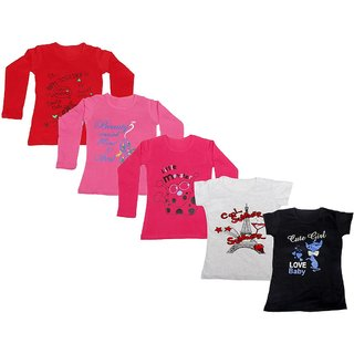 Indistar Girls 3 Cotton Full Sleeves and 2 Half Sleeves Printed T-Shirt (Pack of 5)_Red::Red::Pink::Grey::Black_Size: 6-7 Year
