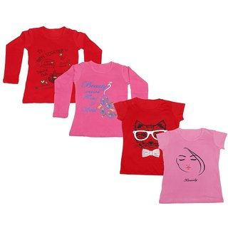 Indistar Girls 2 Cotton Full Sleeves and 2 Half Sleeves Printed T-Shirt (Pack of 4)_Red::Pink::Red::Pink_Size: 6-7 Year