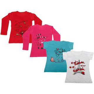 Indistar Girls 2 Cotton Full Sleeves and 2 Half Sleeves Printed T-Shirt (Pack of 4)_Red::Red::Blue::Grey_Size: 6-7 Year