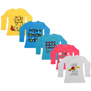 IndiWeaves Girls Cotton Full Sleeve Printed T-Shirt (Pack of 5)_Yellow::white::Red::Blue::Blue_Size: 6-7 Year