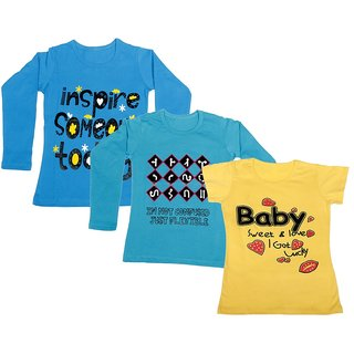 Indistar Girls 2 Cotton Full Sleeves and 1 Half Sleeves Printed T-Shirt (Pack of 3)_Blue::Blue::Yellow_Size: 6-7 Year