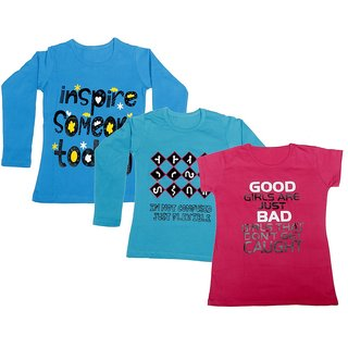 Indistar Girls 2 Cotton Full Sleeves and 1 Half Sleeves Printed T-Shirt (Pack of 3)_Blue::Blue::Pink_Size: 6-7 Year