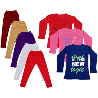 IndiWeaves Girls Cotton Full Sleeves Printed T-Shirt and Cotton Legging (Pack of 8)_Maroon::Beige::White::Purple::Red::Red::Purple::Pink_Size: 6-7 Year