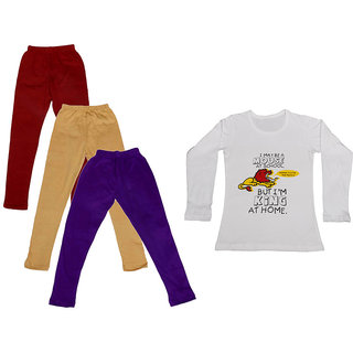 IndiWeaves Girls Cotton Full Sleeves Printed T-Shirt and Cotton Legging (Pack of 4)_Maroon::Beige::Purple::white_Size: 6-7 Year