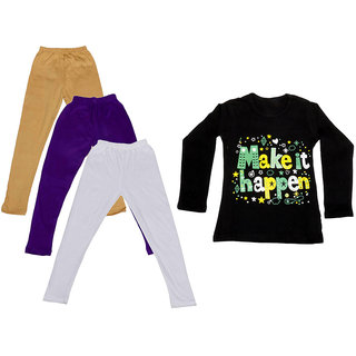 IndiWeaves Girls Cotton Full Sleeves Printed T-Shirt and Cotton Legging (Pack of 4)_Beige::Purple::White::Black_Size: 6-7 Year