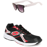 Lotto Vector Black And Red Sport Running Shoes F5R4263-3620