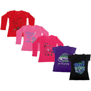 Indistar Girls 3 Cotton Full Sleeves and 2 Half Sleeves Printed T-Shirt (Pack of 5)_Red::Red::Pink::Purple::Black_Size: 6-7 Year