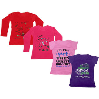 Indistar Girls 2 Cotton Full Sleeves and 2 Half Sleeves Printed T-Shirt (Pack of 4)_Red::Red::Pink::Purple_Size: 6-7 Year