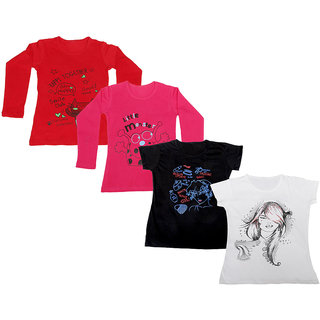 Indistar Girls 2 Cotton Full Sleeves and 2 Half Sleeves Printed T-Shirt (Pack of 4)_Red::Red::Black::White_Size: 6-7 Year