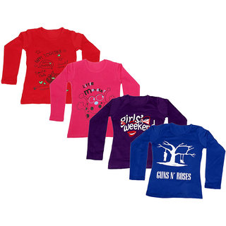 IndiWeaves Girls Cotton Full Sleeves Printed T-Shirt (Pack of 4)_Red::Red::Purple::Blue_Size: 6-7 Year