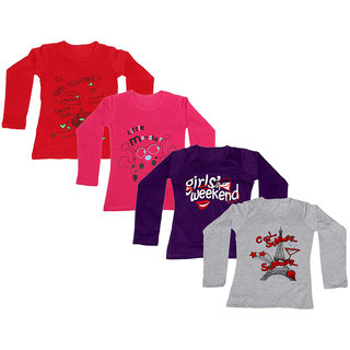 IndiWeaves Girls Cotton Full Sleeves Printed T-Shirt (Pack of 4)_Red::Red::Purple::Grey_Size: 6-7 Year