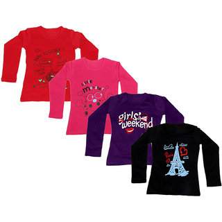 IndiWeaves Girls Cotton Full Sleeves Printed T-Shirt (Pack of 4)_Red::Red::Purple::Black_Size: 6-7 Year