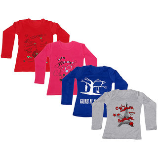 IndiWeaves Girls Cotton Full Sleeves Printed T-Shirt (Pack of 4)_Red::Red::Blue::Grey_Size: 6-7 Year