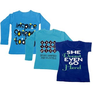 Indistar Girls 2 Cotton Full Sleeves and 1 Half Sleeves Printed T-Shirt (Pack of 3)_Blue::Blue::Blue_Size: 6-7 Year