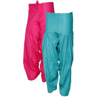 IndiWeaves Women's Premium Cotton 2  Full Patiala Salwar (Pack of 2 Salwar)