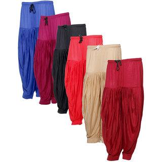 IndiWeaves Women's Premium Cotton 6 Full Patiala Salwar (Pack of 6)