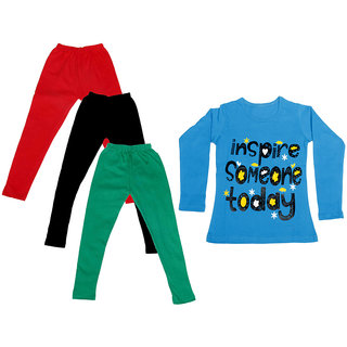 IndiWeaves Girls Cotton Full Sleeves Printed T-Shirt and Cotton Legging (Pack of 4)_Red::Black::Green::Blue_Size: 6-7 Year
