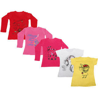 Indistar Girls 3 Cotton Full Sleeves and 2 Half Sleeves Printed T-Shirt (Pack of 5)_Red::Red::Pink::White::Yellow_Size: 6-7 Year