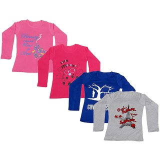 IndiWeaves Girls Cotton Full Sleeves Printed T-Shirt (Pack of 4)_Pink::Red::Blue::Grey_Size: 6-7 Year