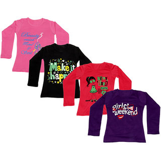 IndiWeaves Girls Cotton Full Sleeves Printed T-Shirt (Pack of 4)_Pink::Black::Red::Purple_Size: 6-7 Year
