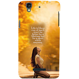 ifasho young Girl with quote Back Case Cover for YU Yurekha