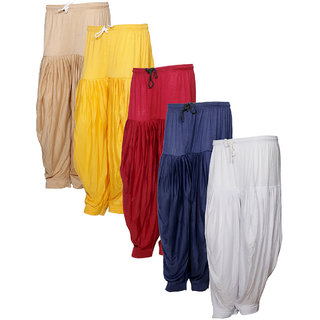 Indistar Women's Premium Cotton 5 Full Patiala Salwar (Pack of 5)