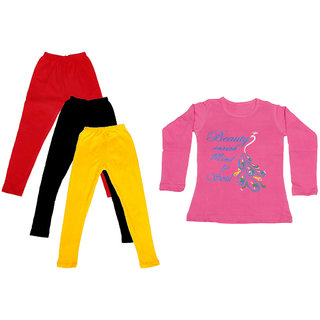 IndiWeaves Girls Cotton Full Sleeves Printed T-Shirt and Cotton Legging (Pack of 4)_Red::Black::Yellow::Pink_Size: 6-7 Year