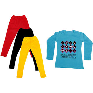 IndiWeaves Girls Cotton Full Sleeves Printed T-Shirt and Cotton Legging (Pack of 4)_Red::Black::Yellow::Blue_Size: 6-7 Year