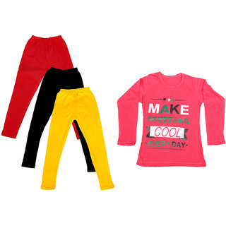 IndiWeaves Girls Cotton Full Sleeves Printed T-Shirt and Cotton Legging (Pack of 4)_Red::Black::Yellow::Red_Size: 6-7 Year
