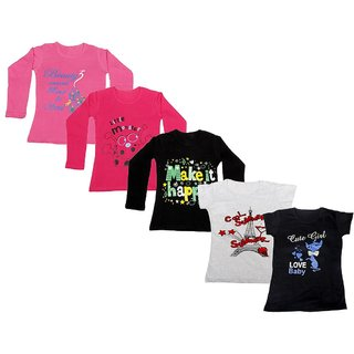 Indistar Girls 3 Cotton Full Sleeves and 2 Half Sleeves Printed T-Shirt (Pack of 5)_Pink::Black::Red::Grey::Black_Size: 6-7 Year