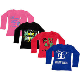 IndiWeaves Girls Cotton Full Sleeves Printed T-Shirt (Pack of 4)_Pink::Black::Red::Blue_Size: 6-7 Year