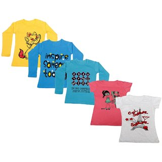 Indistar Girls 3 Cotton Full Sleeves and 2 Half Sleeves Printed T-Shirt (Pack of 5)_Yellow::Blue::Blue::Pink::Grey_Size: 6-7 Year