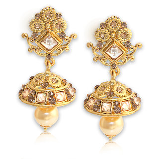 Spargz Traditional Look Party Wear Gold Plating AD Stone Jhumki Earrings For Women AIER 666