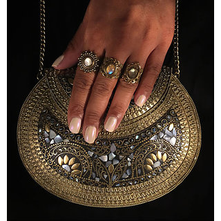 Handmade ethnic metal stone bags (clutch) vintage