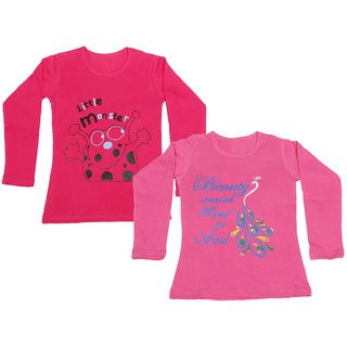 IndiWeaves Girls Cotton Full Sleeve Printed T-Shirt (Pack of 2)_Pink::Red_Size: 6-7 Year
