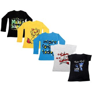 Indistar Girls 3 Cotton Full Sleeves and 2 Half Sleeves Printed T-Shirt (Pack of 5)_Black::Blue::Yellow::Grey::Black_Size: 6-7 Year