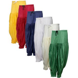 Indistar Women's Premium Cotton 6 Full Patiala Salwar (Pack of 6)