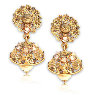 Spargz Floral Gold Plating AD Stone With Pearls Jhumka Earrings For Girls  Women AIER 667