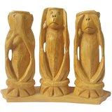 Wooden Mahatma Gandhi's 3 Monkey Set With Base