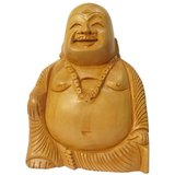 Good Luck Laughing Wooden Hand Curved Buddha