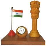 Designer Wooden Table Set With Indian Flage, Small Clock & Ashok 4 Lion Smark