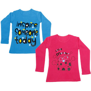 IndiWeaves Girls Cotton Full Sleeve Printed T-Shirt (Pack of 2)_Red::Blue_Size: 6-7 Year