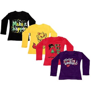 IndiWeaves Girls Cotton Full Sleeves Printed T-Shirt (Pack of 4)_Black::Yellow::Red::Purple_Size: 6-7 Year