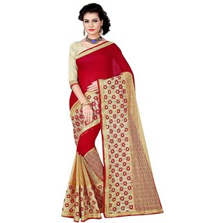 Karishma Maroon Georgette Printed Saree With Blouse