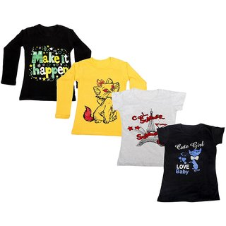 Indistar Girls 2 Cotton Full Sleeves and 2 Half Sleeves Printed T-Shirt (Pack of 4)_Black::Yellow::Grey::Black_Size: 6-7 Year